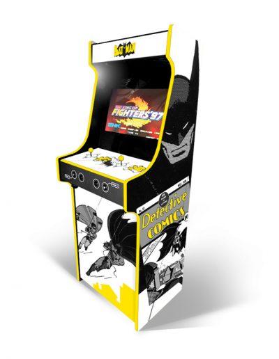 borne d'arcade blanche et jaune batman