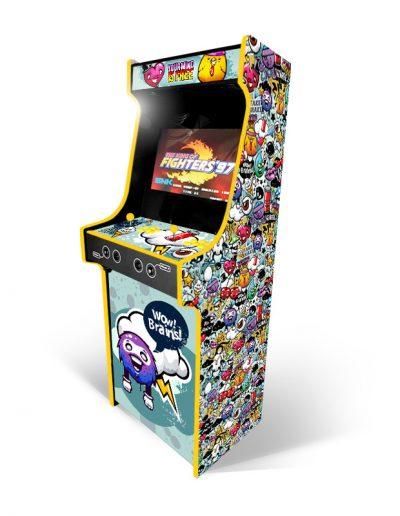 borne d'arcade colorée avec personnage