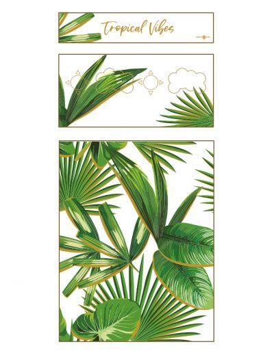 borne d'arcade en bois motif tropical